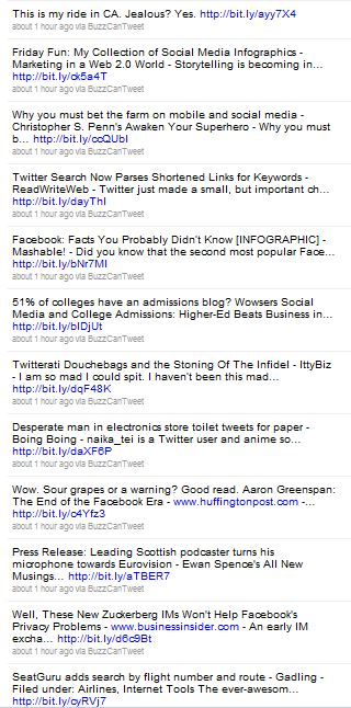 Social Media Top 5 (1) Google Buzz Vomits on My Twitter